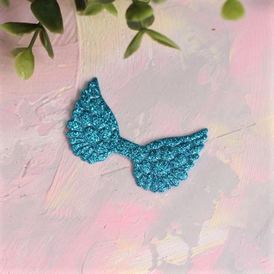 Кукольный аксессуар - Патч голубые крылья с блестками, 1шт