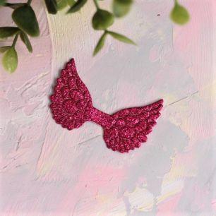 Кукольный аксессуар - Патч ярко-розовые крылья с блестками, 1шт