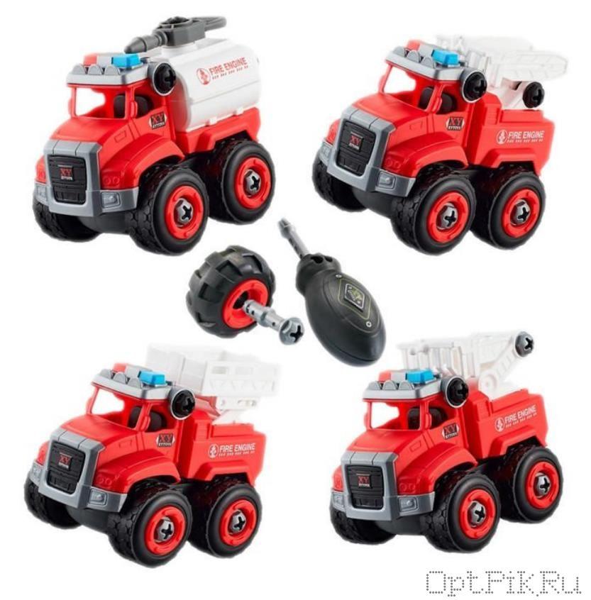 Набор пожарных машинок 4 шт. разборных с отвёрткой