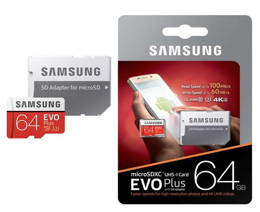 Флеш карта Micro 64GB Samsung EVO Class 10 + адаптер
