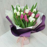 25 тюльпанов в стильной упаковке