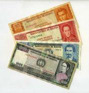 БОЛИВИЯ - набор 4 банкноты 1962-1982гг. VF+ XF