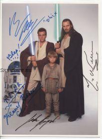 Автографы: Лиам Нисон, Юэн Макгрегор, Джейк Ллойд, Кенни Бейкер. Звёздные войны. Редкость