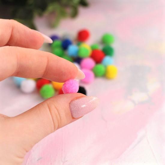 Кукольная миниатюра - Набор помпонов ассорти 8-10 мм. (комплект 10 шт.)