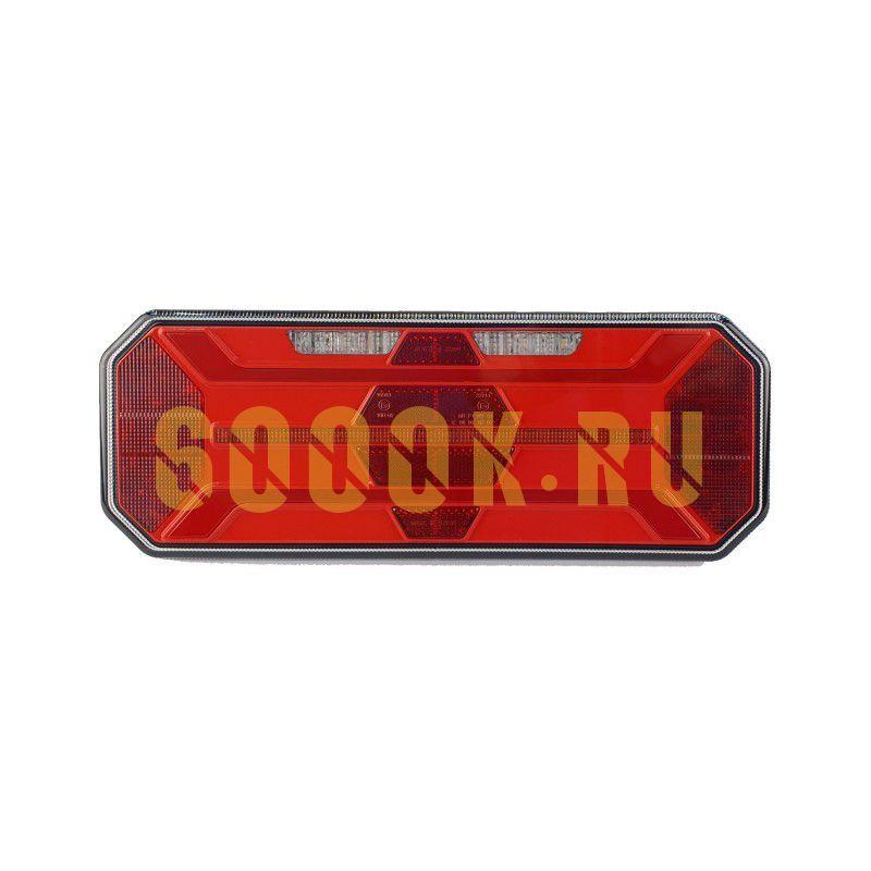 Левый светодиодный фонарь универсальный 20,2 Вт для грузовиков с подсветкой номера (катафот ромб)