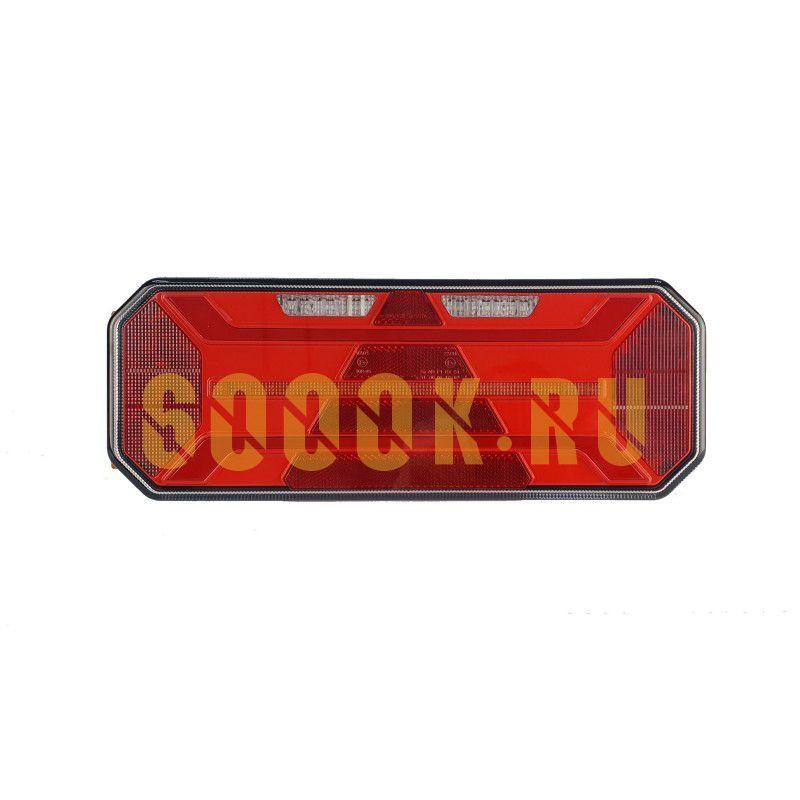 Левый светодиодный фонарь универсальный 20,2 Вт для грузовиков с подсветкой номера (катафот треугольник)