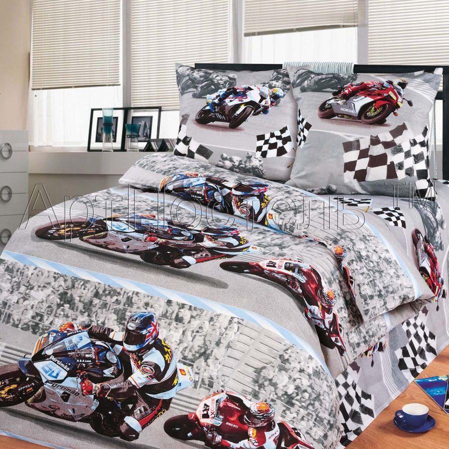 3D - «Супербайк» постельное белье бязь 1.5 спальный
