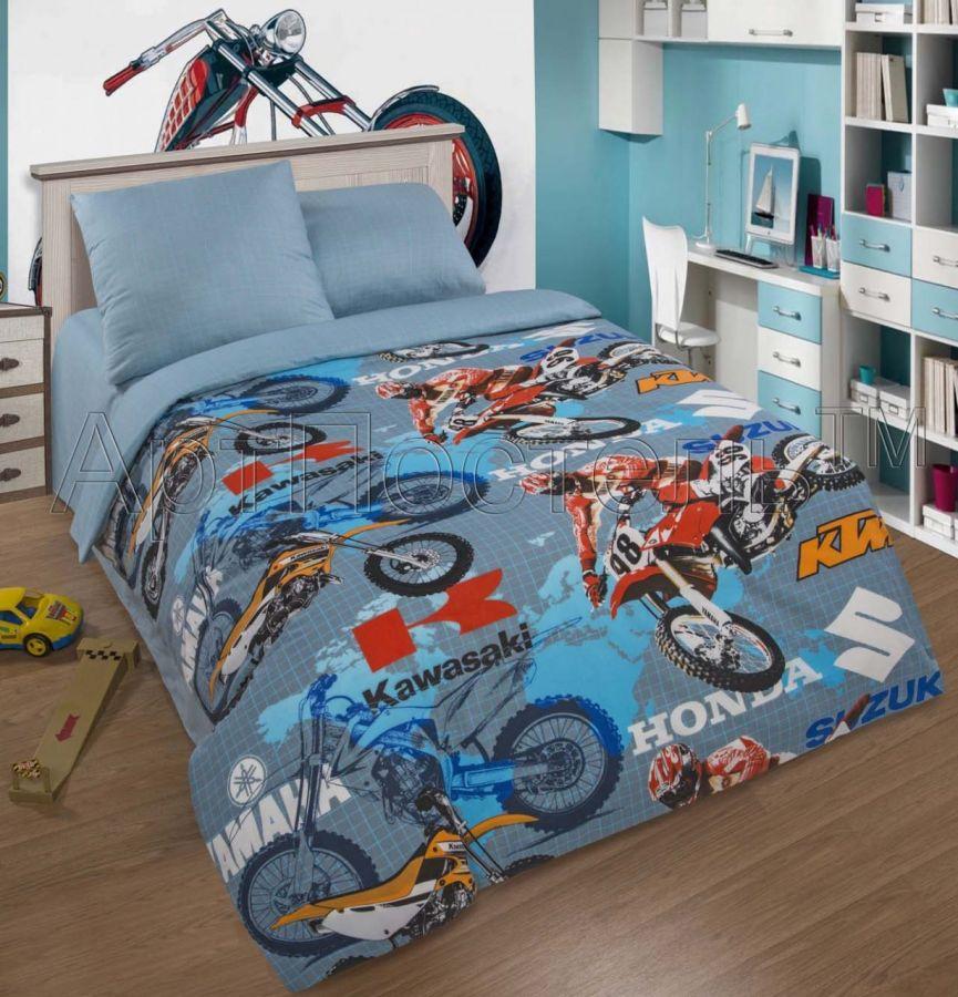 «Мотокросс» постельное белье поплин 1.5 спальный