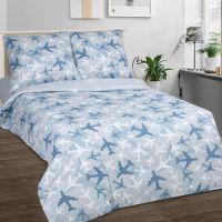 «Самолетики голубые» постельное белье поплин 1.5 спальный