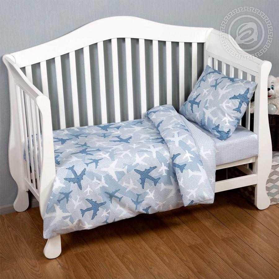 «Самолетики голубые» ясельное постельное белье поплин Детский