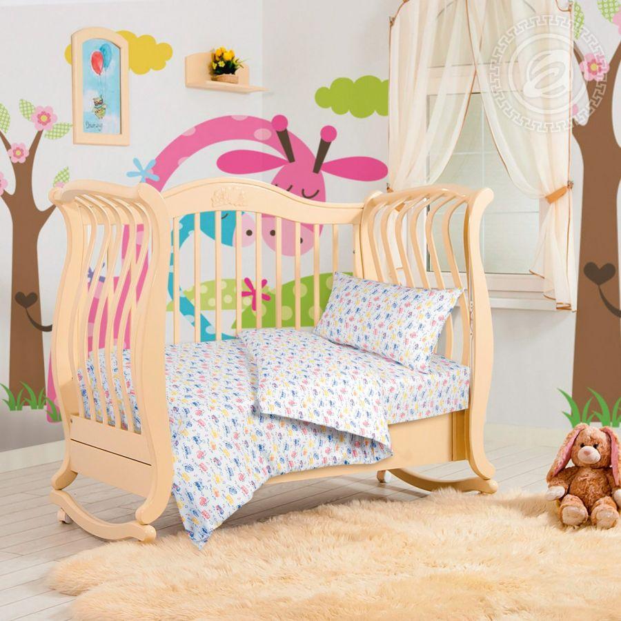 «Машинки» ясельное постельное белье трикотаж Детский