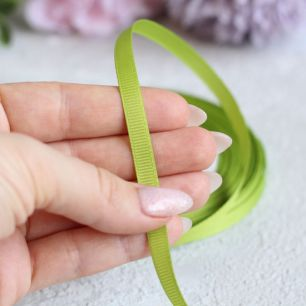 Репсовая лента декоративная - Травяная 6 мм