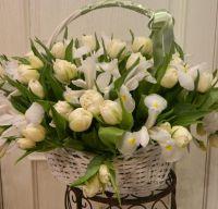 Корзина с белыми тюльпанами