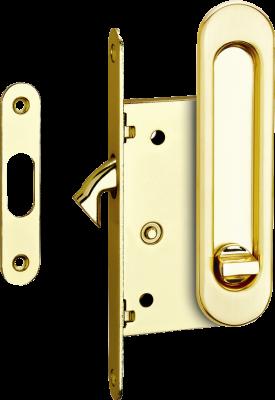 Комплекты ручек для раздвижных дверей с замком, золото
