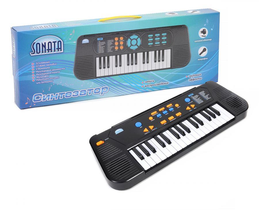 """Синтезатор """"SONATA"""" с микрофоном и адаптером, руссиф.инструкция и панель.32 клавиши"""