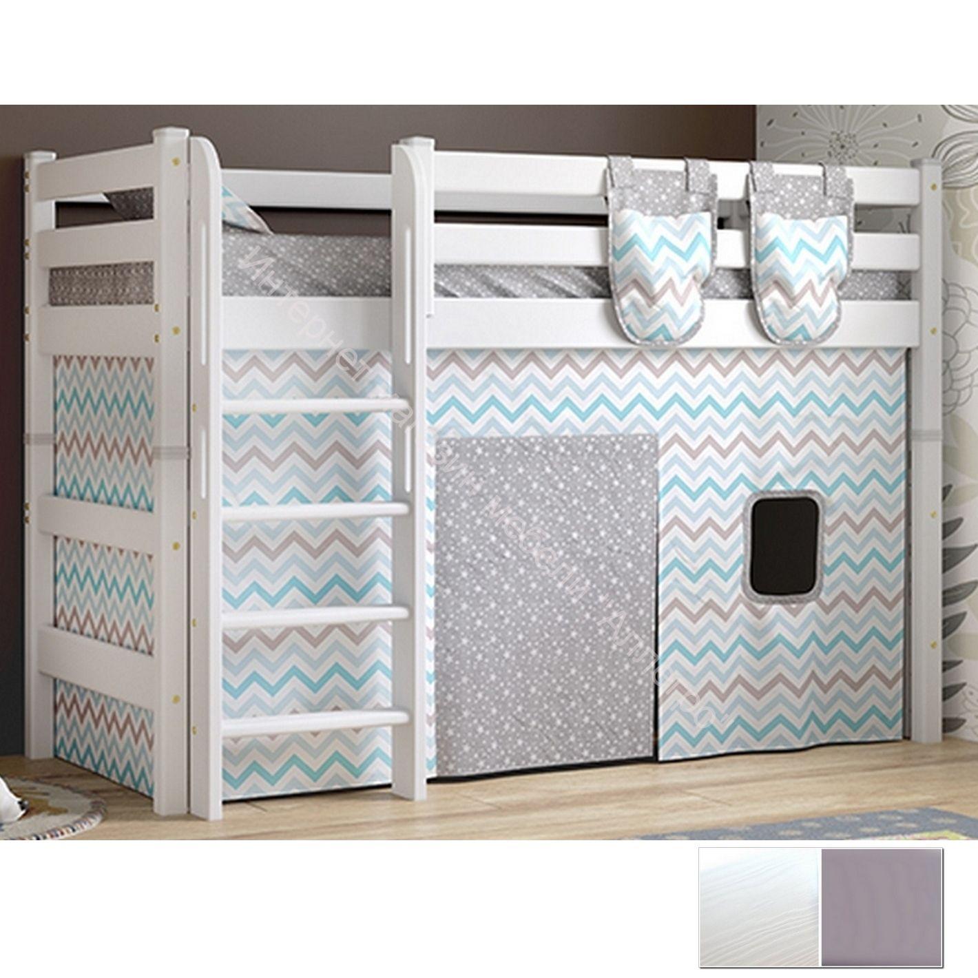 """Вариант 5 Полувысокая кровать """"Соня"""" Белая Массив сосны с прямой лестницей"""
