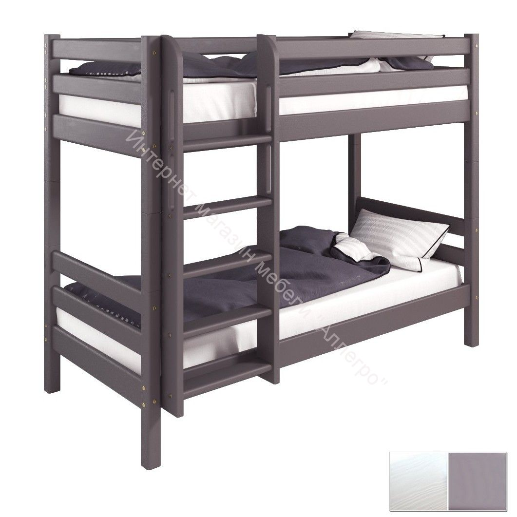 """Вариант 11 Низкая кровать """"Соня"""" Лаванда с прямой лестницей"""