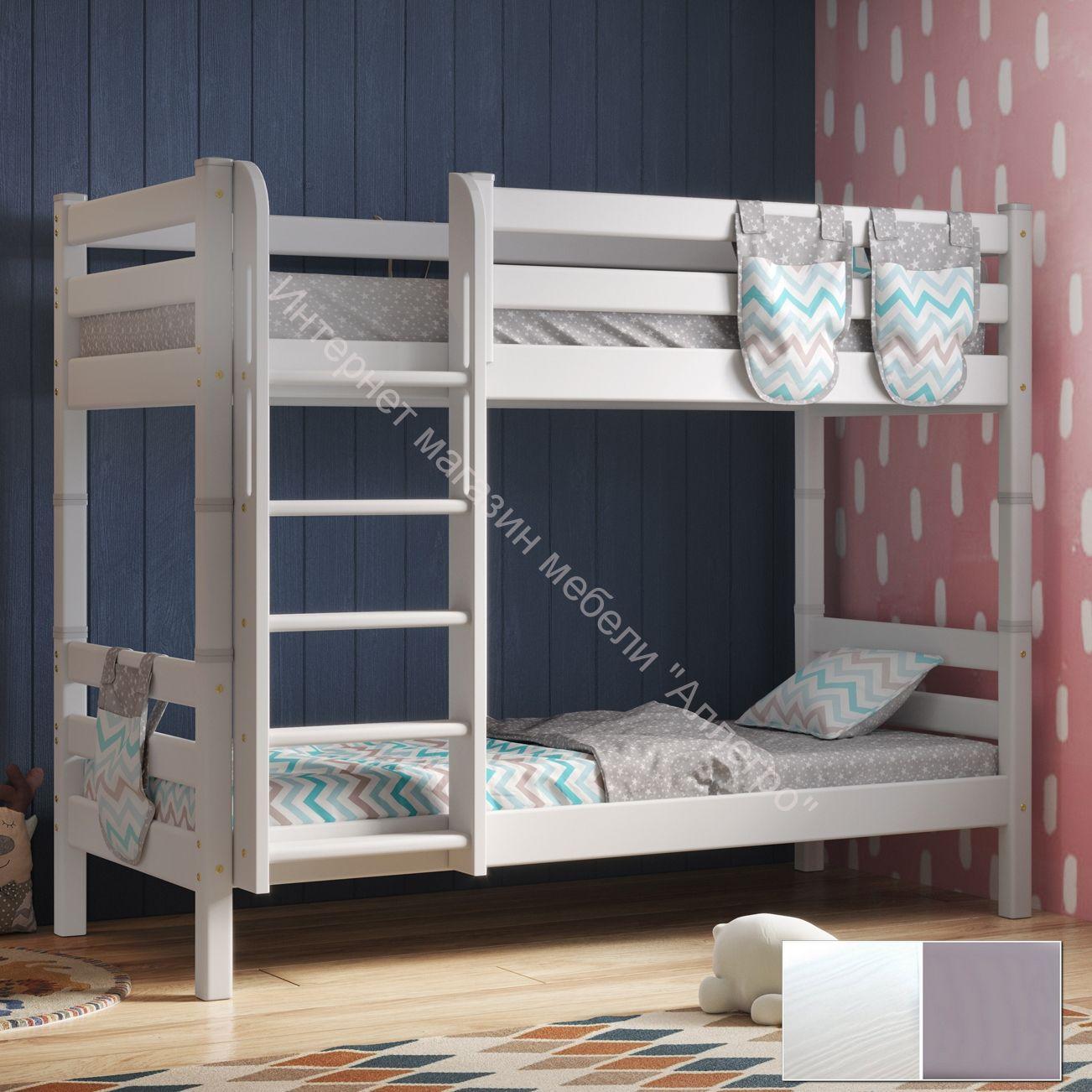 """Вариант 9 Двухъярусная кровать """"Соня"""" Белая Массив сосны с прямой лестницей"""