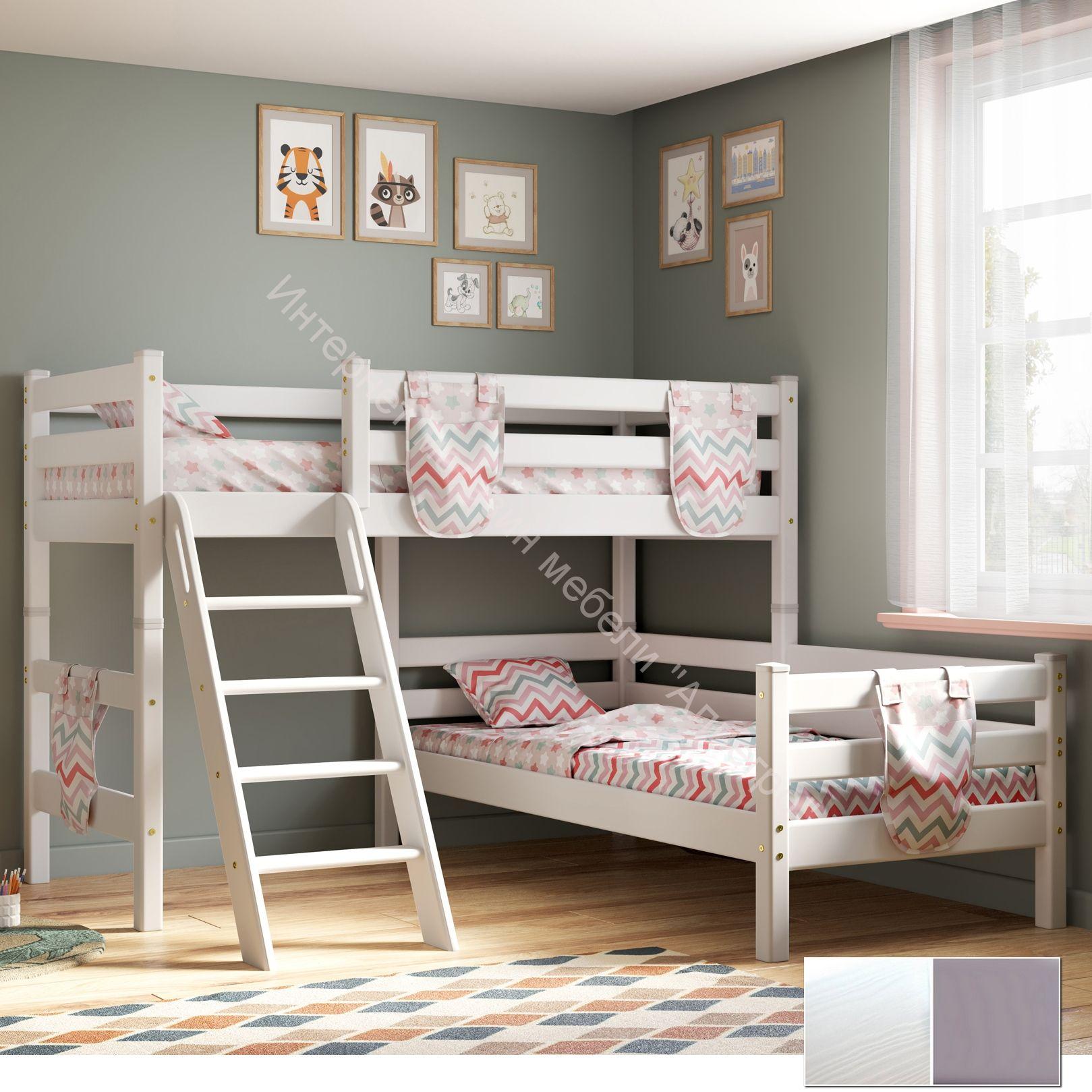 """Вариант 8 Угловая кровать """"Соня"""" Белая Массив сосны  с наклонной лестницей"""