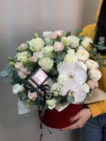 Шляпная коробка с орхидеей фаленопсис в бархате № 52