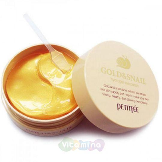Petitfee Гидрогелевые патчи для век с муцином улитки Hydro Gel Eye Patch Gold & Snail