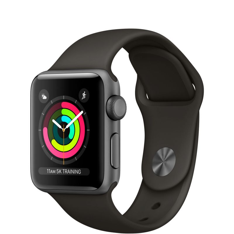 Apple Watch Series 3 38mm (GPS) Space Gray Aluminum Case with Black Sport Band (MTF02)