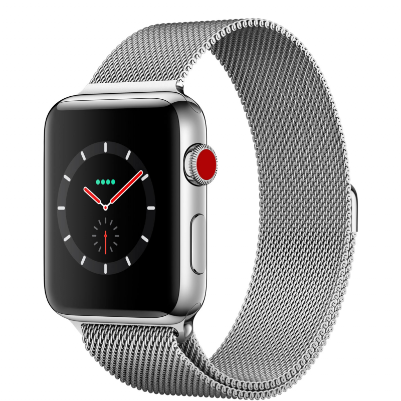 Apple Watch Series 3 38mm Cellular Stainless Steel Case with Milanese Loop (MR1N2)
