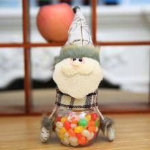 Новогодняя пластиковая банка для конфет с игрушкой, Дед Мороз