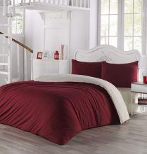 Комплект постельного белья трикотажный  SOFA (кремовый-бордовый) евро   Арт.2988-14