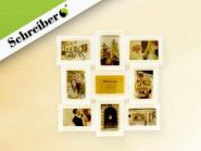 Фоторамка-коллаж, белый цвет, для 9 фото 10х15 см, размер - 52х52 см (арт. S 4025)