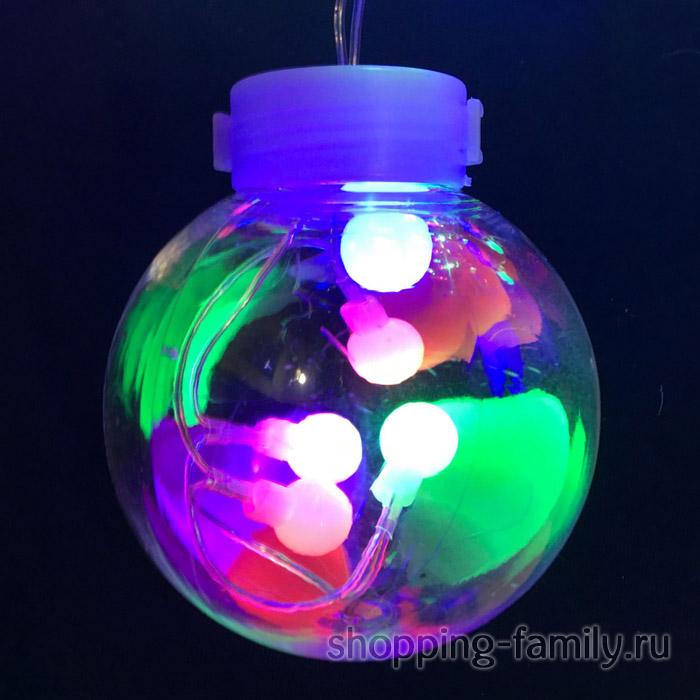 Светодиодная гирлянда-штора в виде ламп, 3 м, Цвет Разноцветный
