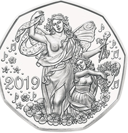 Радость жизни 5 евро Австрия 2019 Новогодняя монета! Серебро. Блистер.