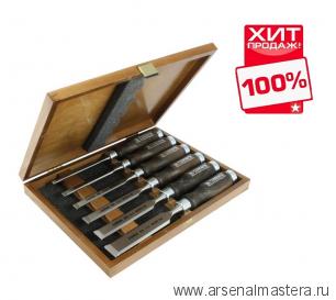 ХИТ! Набор столярных стамесок плоских Wood Line Profi Narex 6 шт в деревянном кейсе (6, 10, 12, 16, 20, 26 мм)  853053