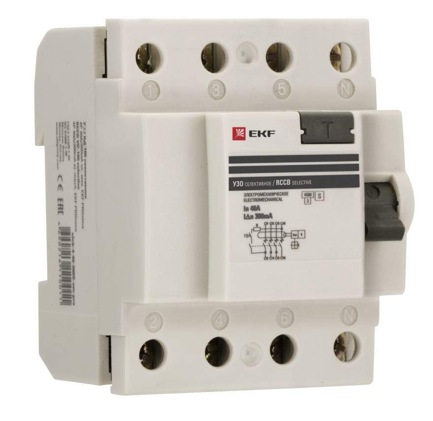 EKF Устройство защитного отключения селективное 4P 40А/300мА (электромеханическое) EKF PROxima