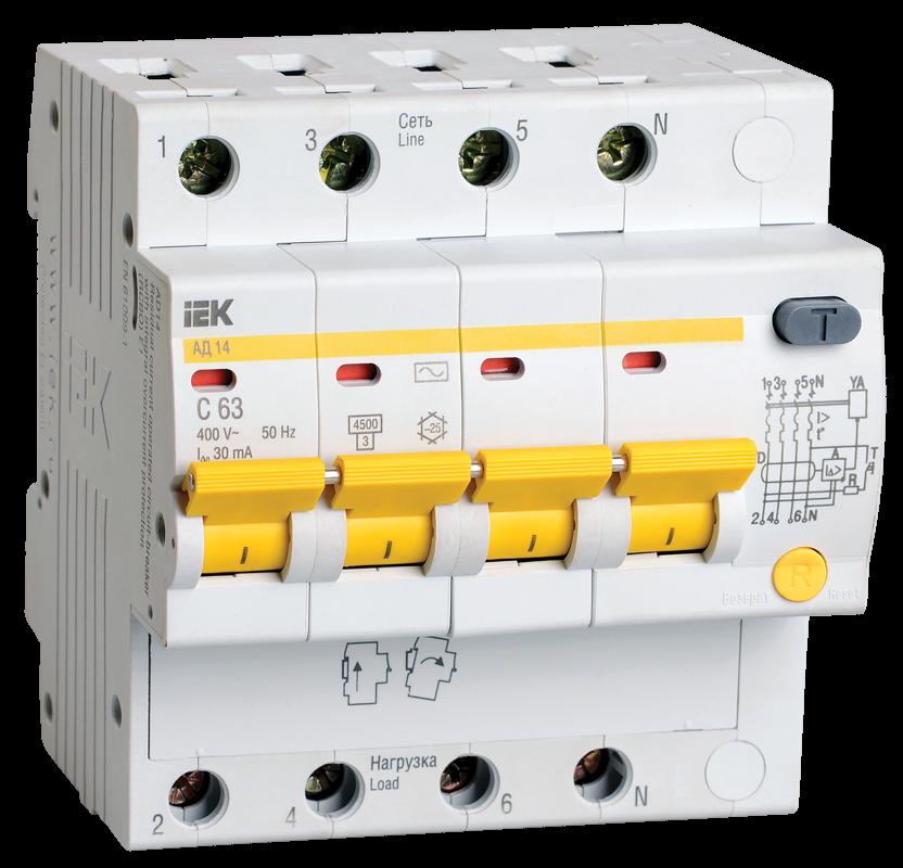Дифференциальный автоматический выключатель IEK MAD10-4-063-C-300