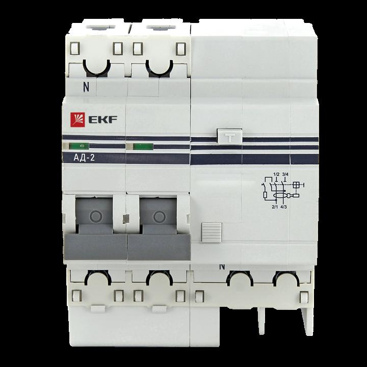 EKF Дифференциальный автомат АД-2 S 50А/100мА (хар. C, AC, электронный, защита 270В) 4,5кА EKF PROxi