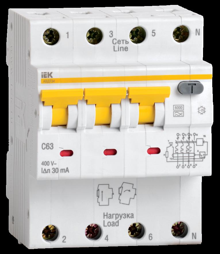 Автоматический выключатель дифференциального тока IEK MAD22-6-032-C-30