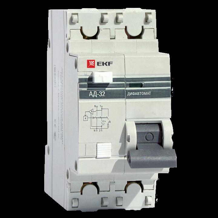 EKF PROxima диф. автомат АД-32 1P+N 63А/300mA хар-ка C, УЗО типа AC, электрон. 4,5кА DA32-63-300-pro