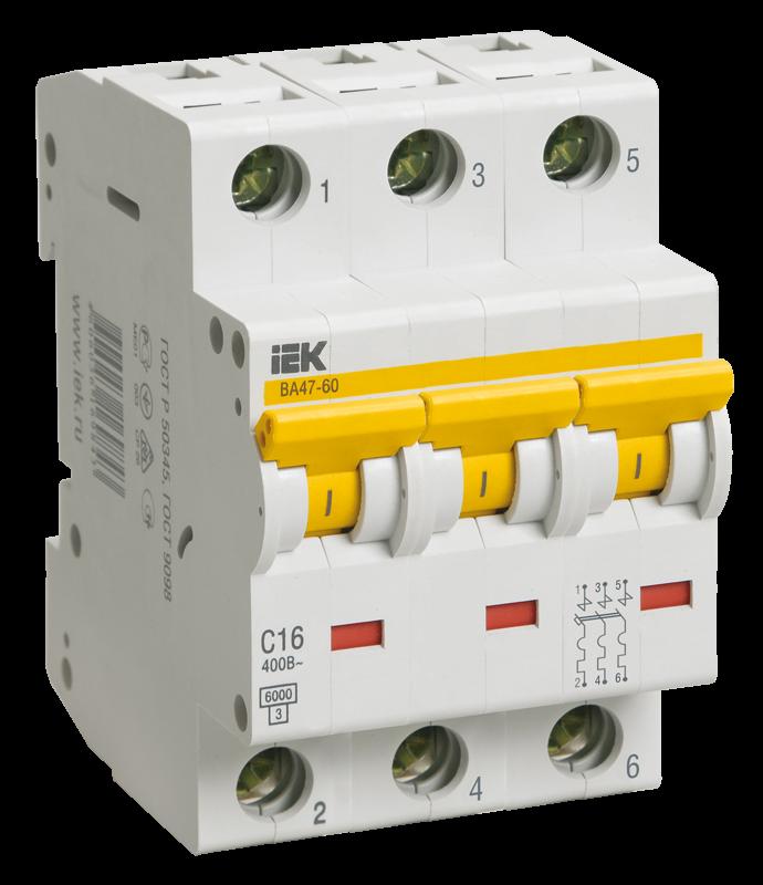 Автоматический выключатель IEK MVA41-3-016-C