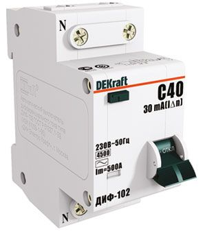 Schneider Electric DEKraft авт. выкл. диф. тока ДИФ-102 1P+N 40А/30мА элек. УЗО тип AC 4,5кА 16007