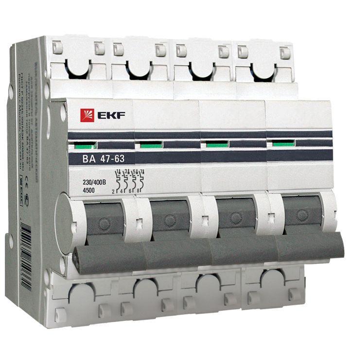 EKF PROxima автоматический выкл. ВА47-63 4P 25А 4,5kA х-ка С mcb4763-4-25C-pro (с опломбировкой)