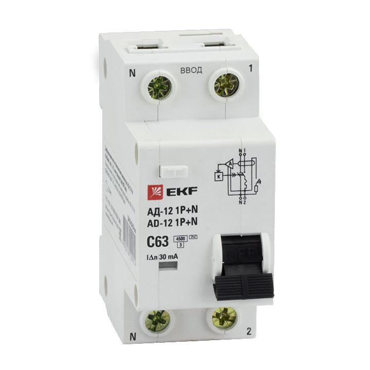 EKF Диф. автомат 1P+N 63А 30мА тип АС х-ка C эл. 4,5кА АД-12 DA12-63-30-bas