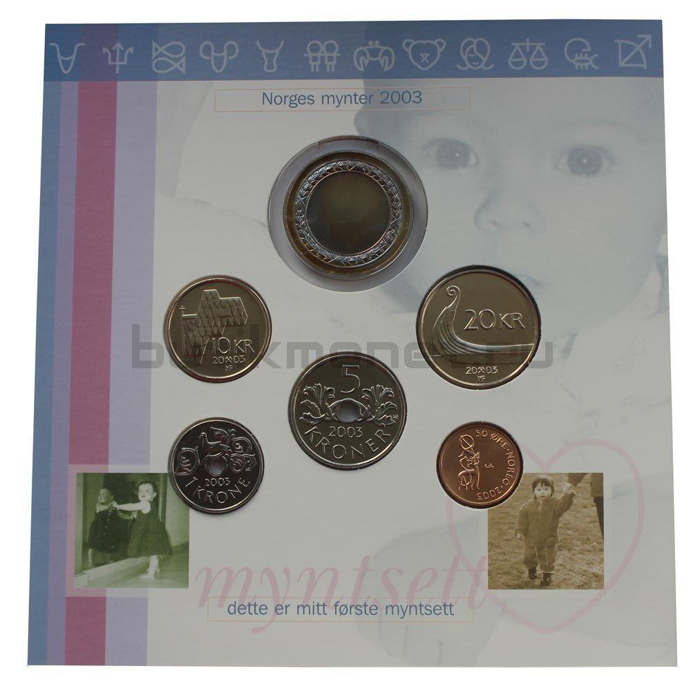 Годовой набор монет 2003 Норвегия Детская серия (5 штук и жетон)