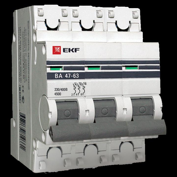 EKF PROxima автоматический выкл. ВА47-63 3P 25А 4,5kA х-ка С mcb4763-3-25C-pro (с опломбировкой)