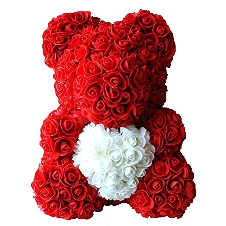 Мишка из роз с сердцем 40 см, цвет красный