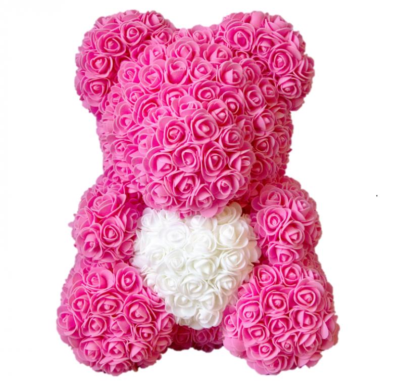Мишка из роз с сердцем 40 см, цвет розовый