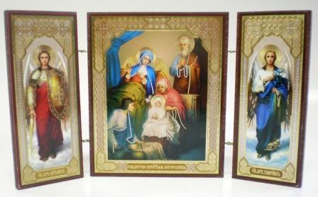 """Складень тройной на дереве - икона """"Рождество Пресвятой Богородицы"""""""