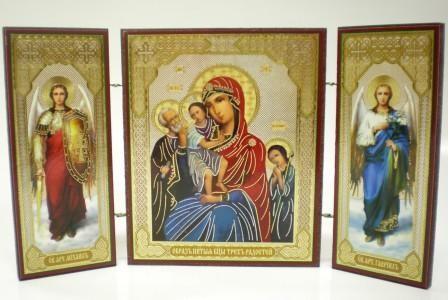 """Складень тройной на дереве - икона Пресвятой Богородицы """"Трёх радостей"""""""