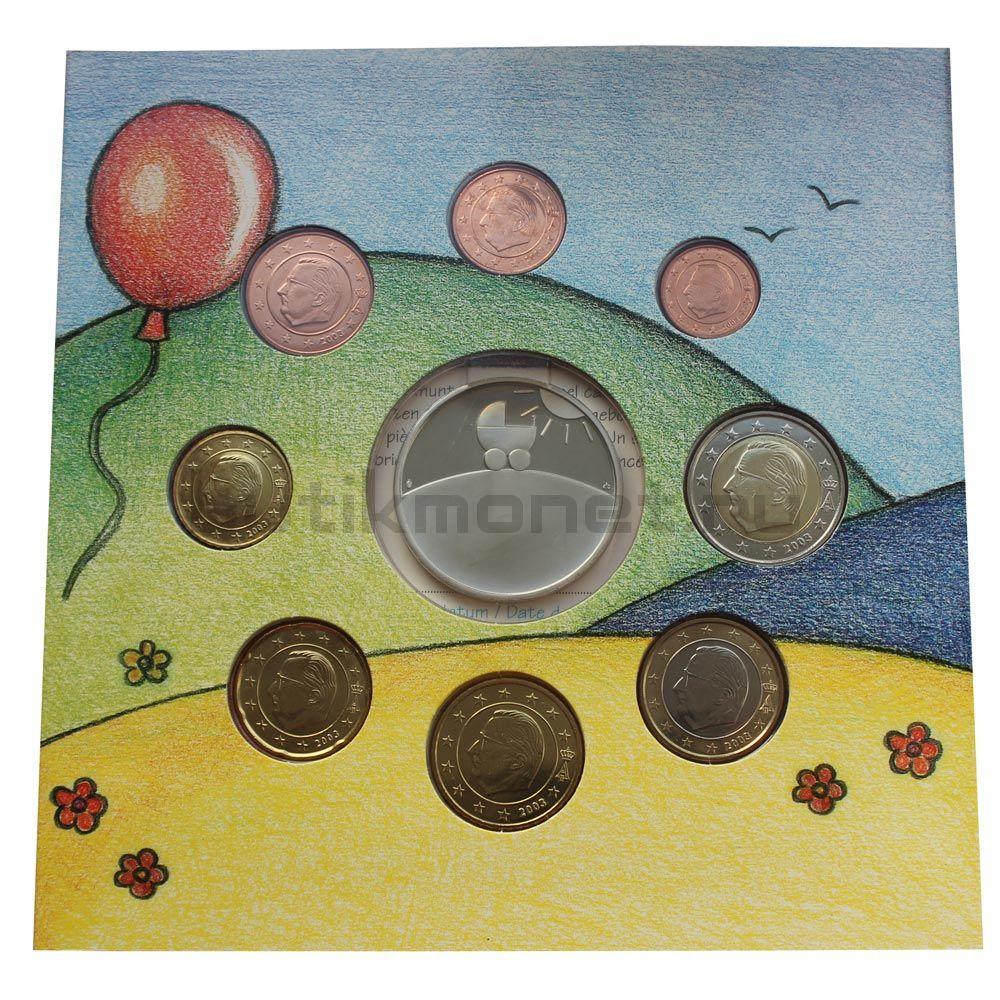 Годовой набор монет ЕВРО 2003 Бельгия Ребёнок (8 штук и жетон)
