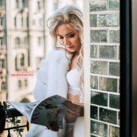 Свадебная меховая накидка из белого песца для невесты фото
